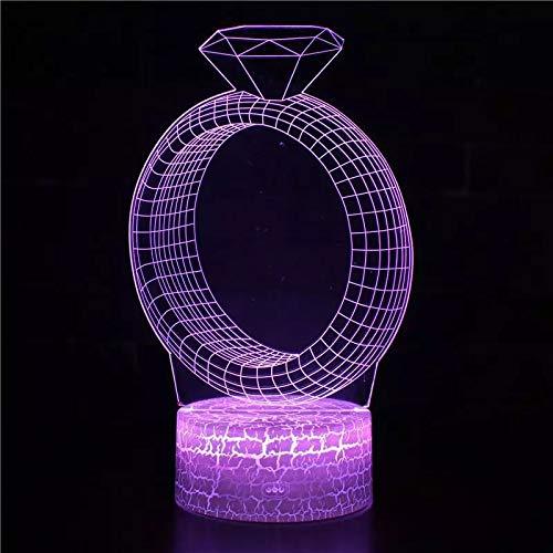 Único anillo de dedo anillo base de grietas acrílico creativo luz multicolor luz de noche led luz visual 3D decoración de dormitorio y habitación lámpara de mesa pequeña