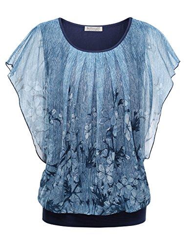 BAISHENGGT Damen Falten Kurzarm Tunika Batwing Rundkragen Bluse Blau-2 Medium