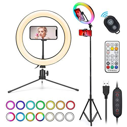 WWDOLL Anillo de Luz LED Fotografía, 10' Aro de Luz para Móvil con 2 Trípode Soporte, 3 Modos de Luces, 26 RGB Colores y 9 Brillos Regulables, Control Remoto Bluetooth para Youtube Maquillaje Selfie