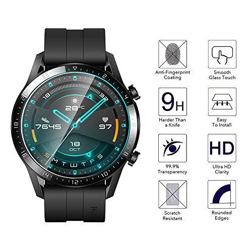 NEWZEROL Ersatz für Huawei Watch GT 2 46mm Panzerglas Schutzfolie, 4 stück 2.5D Arc Edges 9H Glas Displayschutz Anti-Kratzer blasenfrei Schutzfolie mit CLAR Lebenslange Ersatzgarantie - 2