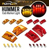 Partsam Whole Assembly Set (5xRed+5xAmber) Lens 264160 Cab Marker Roof Running Crystal Chrome Lights with T10 194 168 W5W 6-5730-SMD LED Bulbs Compatible with Hummer H2 SUV SUT 2003-2009