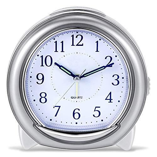 XHZNDZ Sveglia - Sveglia Ultra-silenziosa, Sveglia al Quarzo, con Forte Sveglia a suoneria Meccanica, indicatore Luminoso Notturno, Alimentazione a Batteria