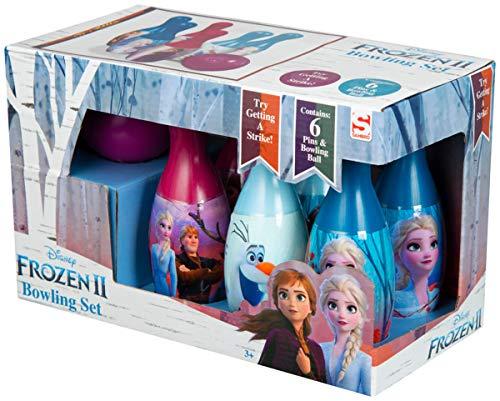 Disney Frozen 2 Juego de Bolos para Niños con Anna y Elsa, Juegos para Interior Exterior, Juguete Infantil Incluye 6 Bolos y Pelota, Juguetes Educativos Regalos Frozen para Niñas 3 + Años