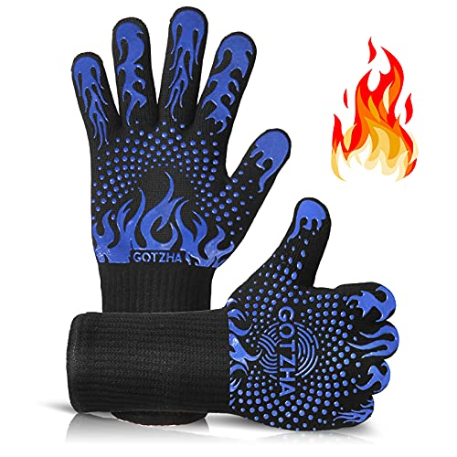GOTZHA BBQ Gloves for Smoker, 1472℉ Extreme Heat Resistant Gloves, 14 Inch Silicone Non-Slip Grill...