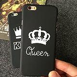 Lumpur Queen King Impreso Funda para teléfono Amantes Par Coportada plástico Duro para iPhone 5 5s SE 6 6s 6Plus 6SPlus 7 7Plus 8 8Plus X(Reina 6 6SNegro)