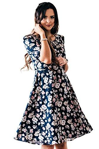 Mikarose Kaylee Modest Dress In Navy Blue w/Floral Print