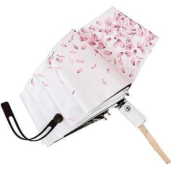 Bleu Parapluie Transparents Pliant Fleuri/Sakura Japonais Style Compact Solide Anti-vent Parapluie pour Femme Mariage Photographie d/'Art