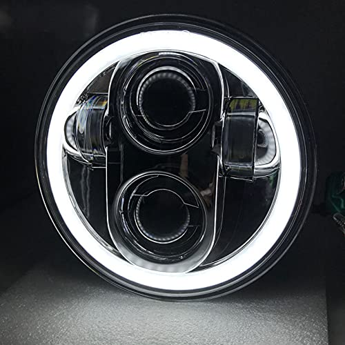 Faros Delanteros de Motocicleta con Ojo de Angel, 5.75 pulgadas Luces de Conducción Antiniebla para Har-ley David-son, LED Focos Delanteros Impermeables para Moto, Jeep