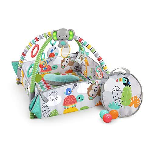 Bright Starts, Gimnasio de Actividades evolutivo 5-en-1 Totally Tropical, incluye 40 bolas y su maletín, 7 juguetes, almohadilla para bebés, desarrollo de las habilidades motoras