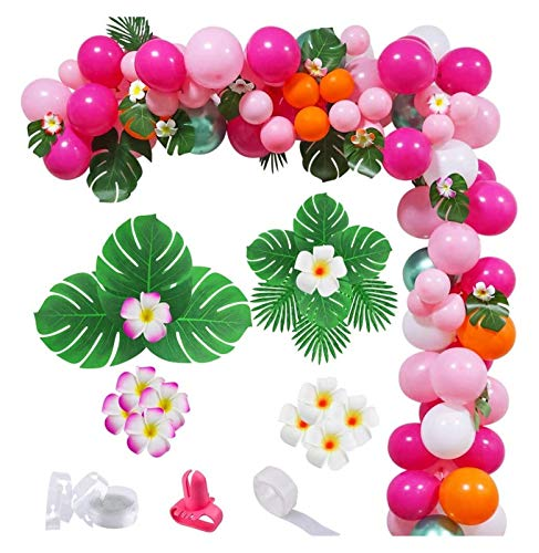 JSJJAES Balloons 143Pcs Pink Green Tropical Flamingo Balloon Arch Garland Kit Party Decorations DIY for Wedding Baby shower (Color : 143pcs set)