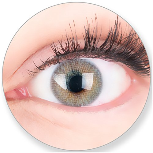 Glamlens Kontaktlinsen farbig grau ohne und mit Stärke - mit Kontaktlinsenbehälter. Sehr stark deckende natürliche graue farbige Monatslinsen Seidengrau 1 Paar weich Silikon Hydrogel 0.0 Dioptrien