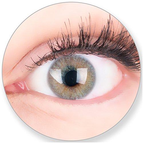 Glamlens Kontaktlinsen farbig grau ohne und mit Stärke - mit Kontaktlinsenbehälter. Sehr stark deckende natürliche graue farbige Monatslinsen Seidengrau 1 Paar weich Silikon Hydrogel -3.0 Dioptrien