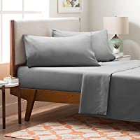 Linenspa Brushed Microfiber Ultra Soft Bed Sheet Set - Wrinkle Resistant - Twin Size - Stone
