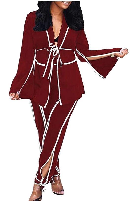 アイドル画像つづり女性カジュアルブレザー2ピースセットバギーパンツスリットタイ衣装