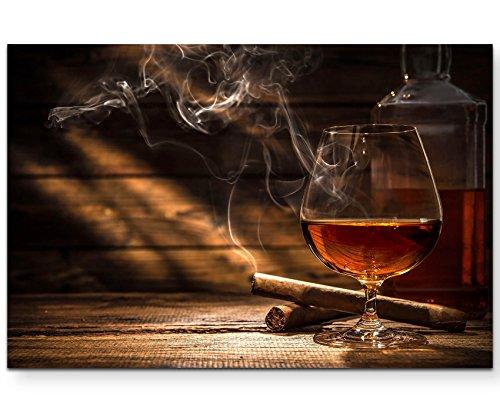Paul Sinus Art Leinwandbilder | Bilder Leinwand 120x80cm Whiskey und Zigarette