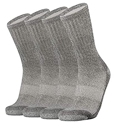 SOX TOWN Merino Wool Moisture Wicking Outdoor Hiking Hiker Light Cushion Crew Socks for Men 4 Pack(Black XL)