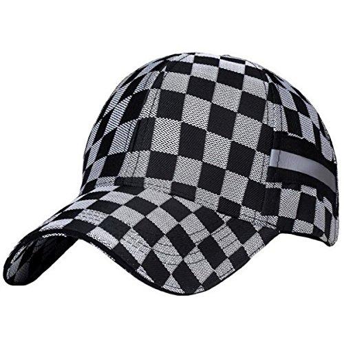 Ukerdo Homme Baseball Soleil Casquette Loisirs Sport Chasse Golf Voyage Ajustable Plaid Ajusté Chapeau - Gris Noir
