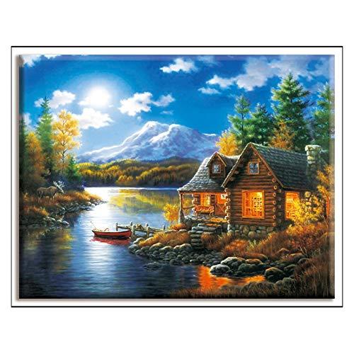 Cross-stitch, house, Olieverf Landschap Klussen handwerkpakketten White Canvas 40x50cm Katoenen Draad for volledige…