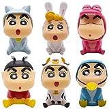 Cake Decoración - YUESEN 6pcs Anime Crayon Shin-Chan Mini Juego de Figuras de Mini Juego de Figuras Niños Mini Juguetes de cumpleaños Pastel Decoración Suministros