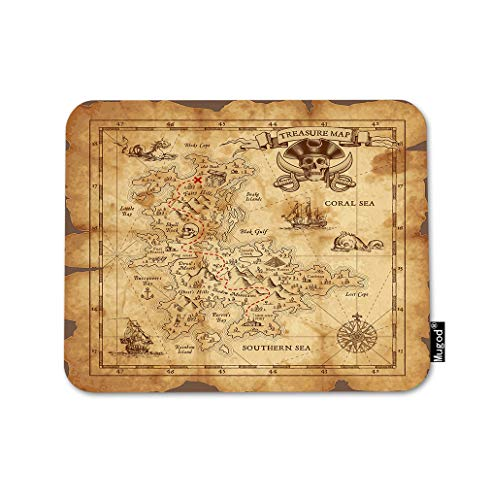Mugod Map Mouse Pad Pirate Treasure Map Ruined Old Parchment Island Skull Gaming Mouse Mat Non-Slip Rubber Base Mousepad for Computer Laptop PC Desk Office&Home Working 9.5x7.9 Inch
