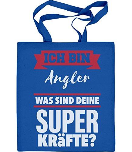 Shirtgeil Geschenke für Angler -Ich bin Angler Was sind deine Superkräfte? Jutebeutel Baumwolltasche One Size Blau