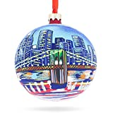 BestPysanky Brooklyn Bridge, New York Glass Ball Christmas Ornament 4 Inches
