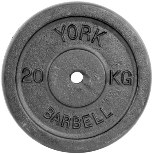 York Fitness Single Cast Iron Plate Weight Plate Home Gym Equipment Perfect for Fitness Bodybuilding Weight Lifting - 20kg
