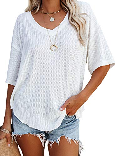 Dokotoo Women's Plus Size Summer V Neck Waffle Knit Short Sleeve Tunic Tops Casual Loose Fit Blouses T Shirts Work White XL