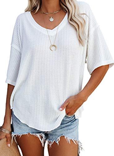 Dokotoo Camisas de manga corta con cuello en V causual de las mujeres de punto de gofre sueltas blusas de túnica, Suave, XL, A Blanco
