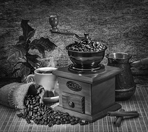 Bilderdepot24 Fototapete selbstklebend Kaffeemühle - schwarz weiß 270x240 cm