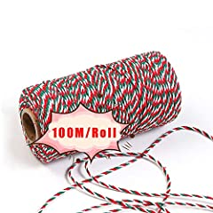 【Material & Size of Color Twine】Our colored wrapping twine string is woven from multiple strands of cotton.The diameter is 2mm, the length of each roll is 100 m/ 328 ft. The string is long and strong enough to meet you need for gift packaging and hom...