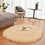 alfombra Ali Alargo Engrosado 9 cm ovales Tramo de Seda cabecera Manta habitación Dormitorio Infantil (Color : Blanco Crema, Tamaño : 1.2 * 1.7m)