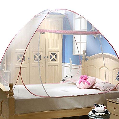 YOUJIA Moustiquaire de lit Lacet Moustiquaire Amovible de Voyager Yourte Tente de Lit Pink 1.8 * 2 * 1.5m
