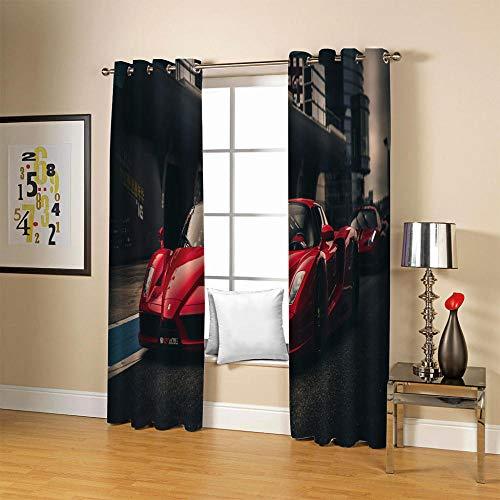 LJUKO Cortina Opaca en Cocina el Salon dormitorios habitación Infantil 3D Impresión Digital Ojales Cortinas termica - 234x138 cmRojo Fresco Coche Deportivo Calle.