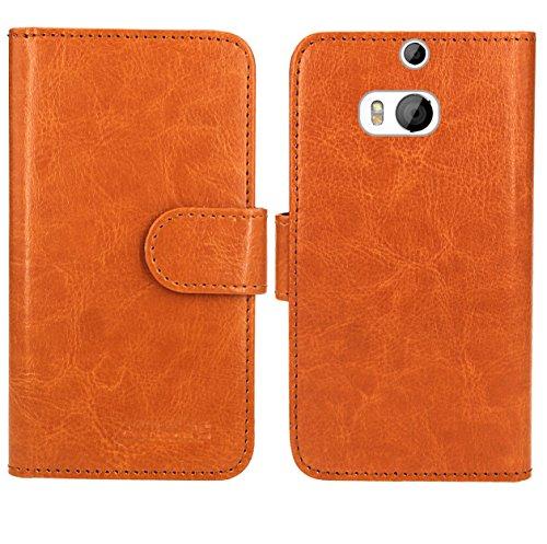 HTC One M8 / M8s Handy Tasche, FoneExpert® Wallet Hülle Flip Cover Hüllen Etui Ledertasche Lederhülle Premium Schutzhülle für HTC One M8 / M8s (Wallet Orange)
