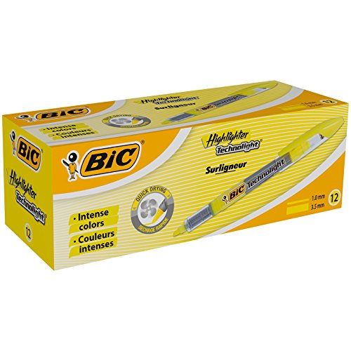 BIC Highlighter Technolight Marcadores punta biselada Ajustable - Amarillo, Caja de 12 unidades