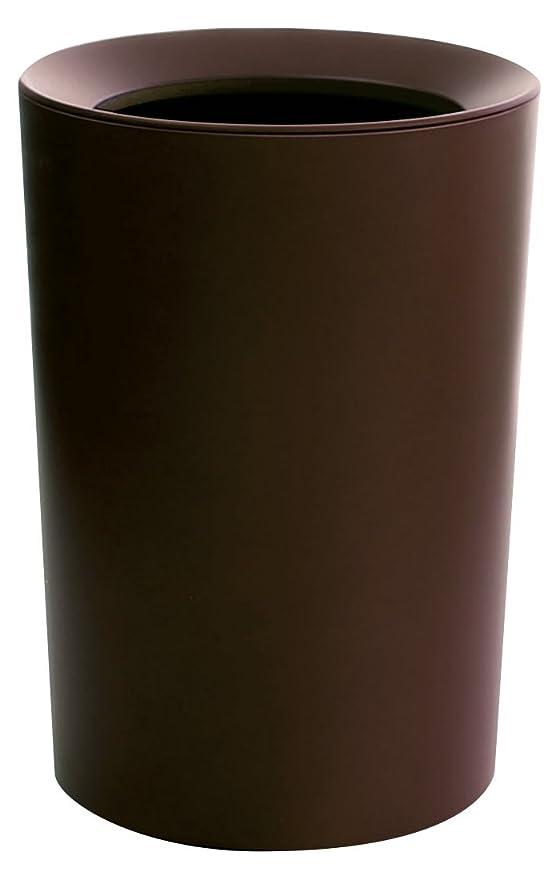 集まる結び目基準アスベル フタなしゴミ箱 ブラウン Φ22.2×31.8 ルクレール2重構造くず入CV丸形