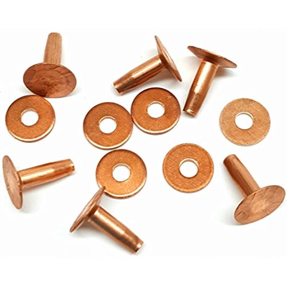 6 Pack #9 Solid Copper Rivets With Burrs-Stirrup Rivets-Blevins Buckle Rivets-Saddle Repair Rivet (1/2)