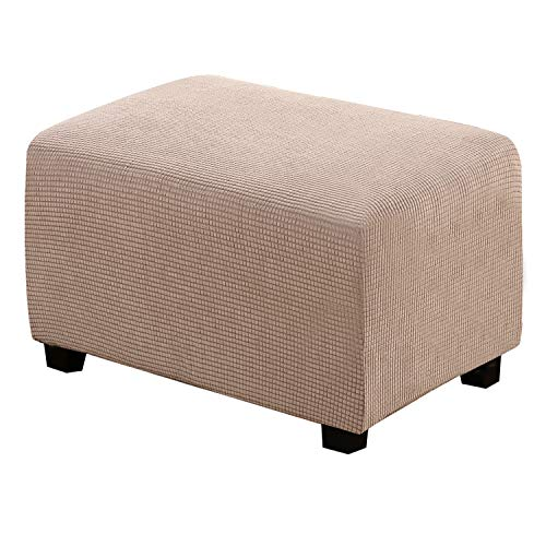Ottoman Cover Rectangle Ottoman Slipcovers Stretch Footstool Protector for Living Room Soft with Elastic Bottom Jacquard Textured Twill Fabric Slipcover(Ottoman Large Size, Sand