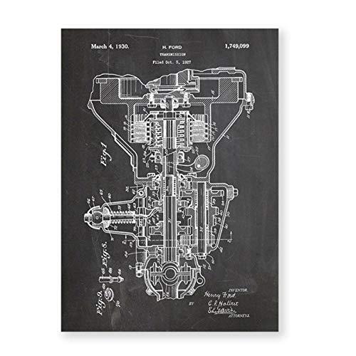 artaslf Impresión de Lienzo de Patente de transmisión póster Vintage Piezas de Motor de Coche Pintura de Pared Arte de Pared Impresiones imágenes decoración del hogar 60x80 cm sin Marco