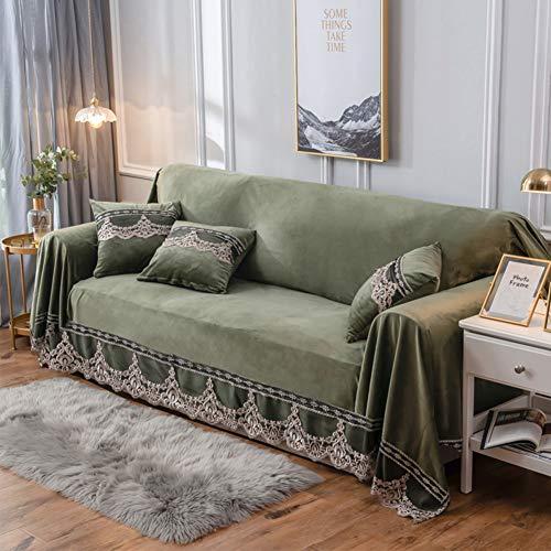 QYN Felpa Funda para Sofá,Encaje Vintage Ante Anti-Slip Cubre Sofá para Todos-Protector De Muebles Universal Inclusivo-a Sobredimensionado