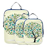 Bolsas organizadoras de equipaje de dibujos animados coloridos Wonderful Tree Maleta organizadora de bolsas Set Cubos de embalaje expandibles para maletas para equipaje de mano, viajes (juego de 3)