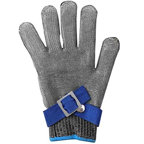 Schnittfeste Handschuhe-XHZ Fünfstufige Schutzhandschuhe, Fische tötende Handschuhe, spezielle Edelstahlhandschuhe zum Schlachten und Schweißen, Metalldrahthandschuhe Silbergrau Größe: S, M, L.