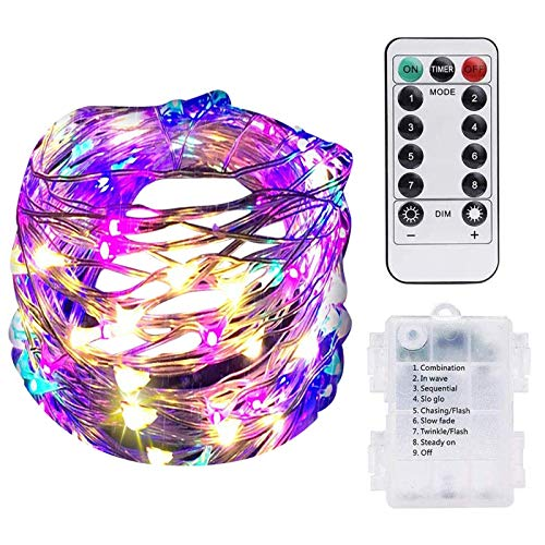 MARIJEE Lámpara de energía solar para decoración de jardín, cadena de luces LED para pilas, luces de hadas, luces LED parpadeantes, disponibles en blanco frío, blanco cálido, azul, morado y color