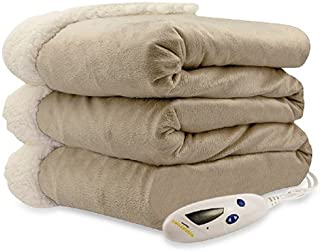 Pure Warmth Micro Mink Sherpa Electric Heated Throw Blanket Taupe