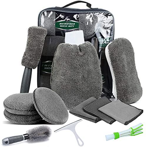 kit pulizia auto 12 pezzi, per interni ed esterni, per la cura dell'auto, per la pulizia dell'auto e per la pulizia dell'auto