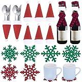 MELLIEX 20 Piezas Bolsita Cubiertos Navidad, Posavasos de Copos de Nieve Mini Gorro de Navidad y Bufanda Decoración Botella de Vino para Navidad Decoración Mesa