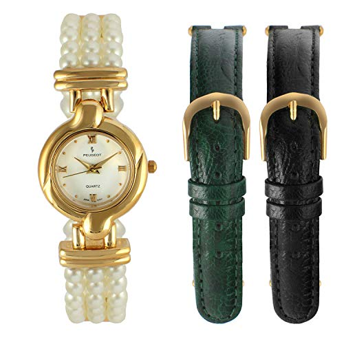 Peugeot Women's 14k Gold Plated Pearl Bracelet Watch with Interchangeable Leather Bands Gift Set