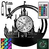 Walt Disney - Reloj de pared LED RGB con diseño de piloto para mando a distancia, disco de vinilo, decorativo para regalo de cumpleaños