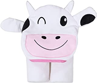 InsHere Organic Cotton Cow Hooded Bath Towel for Kids, Animal Design Beach Pool Coverup, Towel Wrap Poncho for Baby Toddler Girls Boys (Cow)